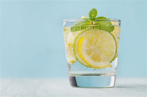 Mineral Water Detox by Mineral Infused Water With Limes Lemons And Mint