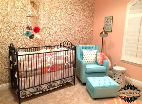 gold wallpaper nursery coral and gold nursery readers favorite project nursery
