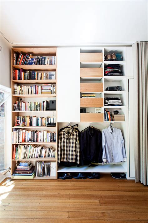 Bedroom Storage Solutions Melbourne Tiny Apartment A Curtain Between Dining And Bedroom Mode