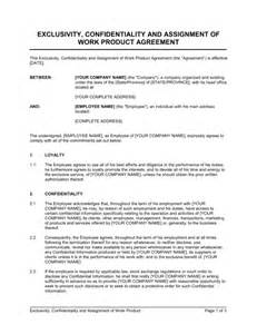 exclusivity letter template exclusivity confidentiality and assignment of work 9 best images of mutual exclusivity agreement