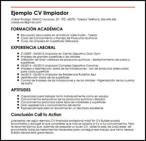 Modelo De Mi Primer Curriculum Vitae Experiencia Laboral Ejemplo De Cv Limpiador Profesional Micvideal