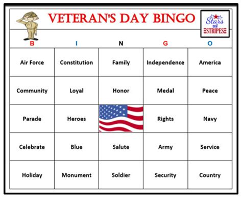 day bingo veterans day printable patriotic holidays