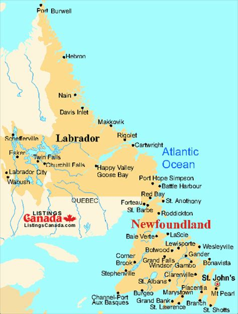 newfoundland map canada map of newfoundland nfl and labrador