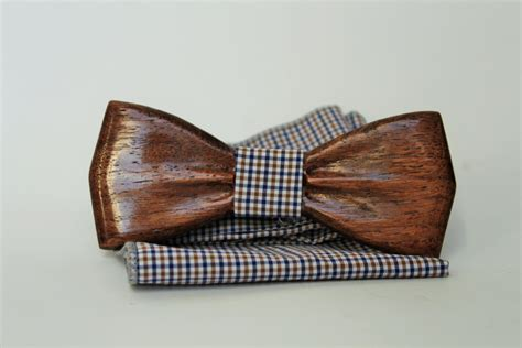 mens wooden bow tie with pocket square wooden handmade bow