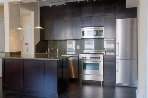 dark shaker kitchen cabinets dark stained shaker cabinets upper west side new york