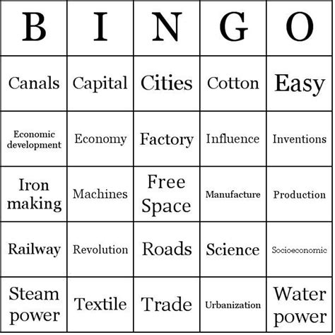 printable housewarming bingo cards 35 best history industrial revolution images on pinterest
