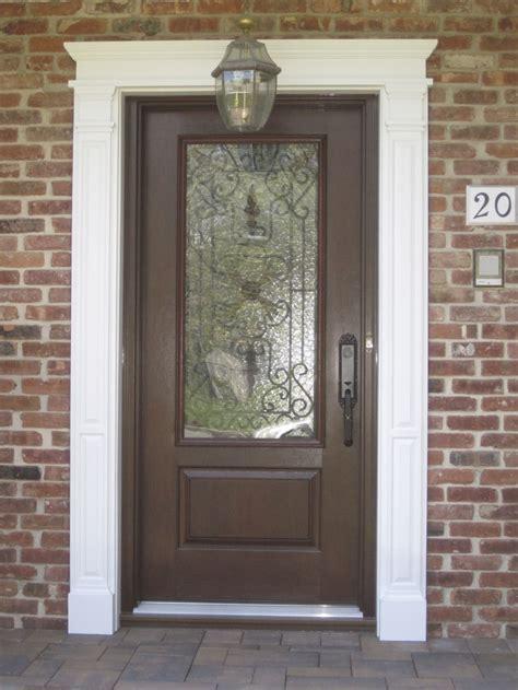 Exterior Doors And Frames Brown Color Exterior Wood Door With Black Metal Handle And Fiberglass Insert Plus White