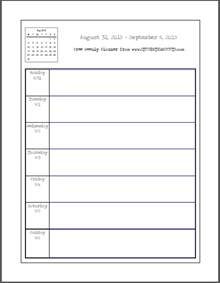 Printable School Template by Free Blank Printable Weekly School Planner Student Handouts
