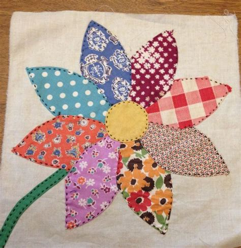 Patchwork Applique - 2 vintage sunflower appliqued quilt blocks by