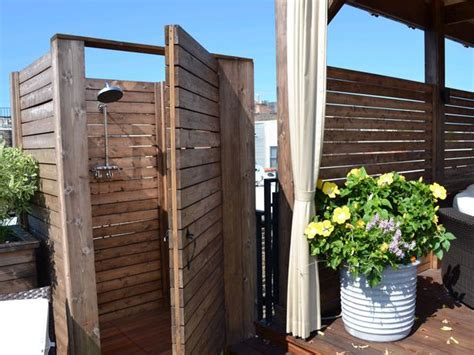 simple outdoor shower wooden outdoor shower on deck hgtv