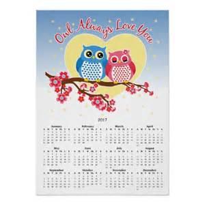 2017 cute owl year calendar print zazzle