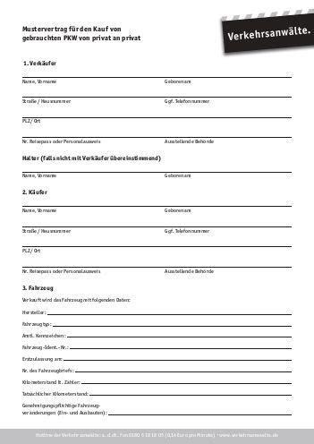 gebrauchte wagen privat formular pkw kaufvertrag pdf