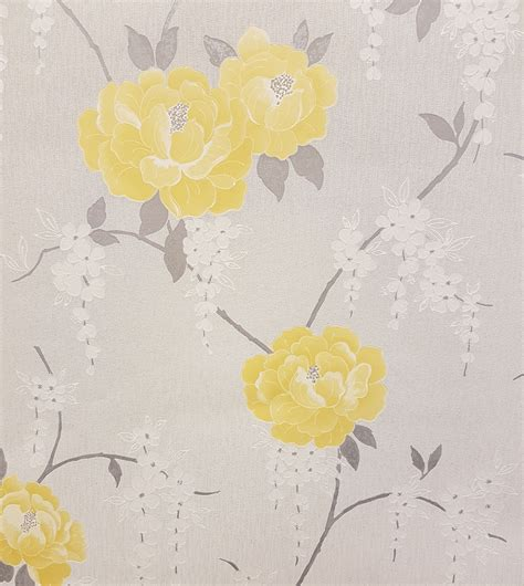 grey yellow wallpaper uk graham brown super fresco elizabeth floral vinyl