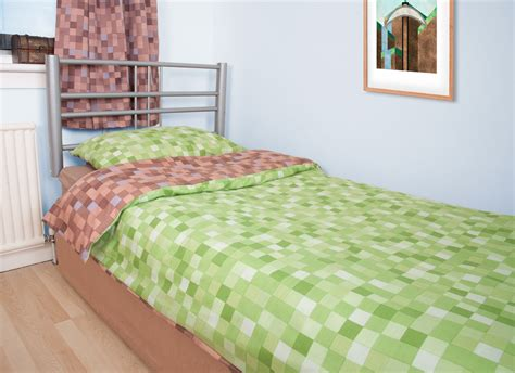 Pixel Bedding by Brown And Green Pixel Duvet Cover Inspired By Minecraft