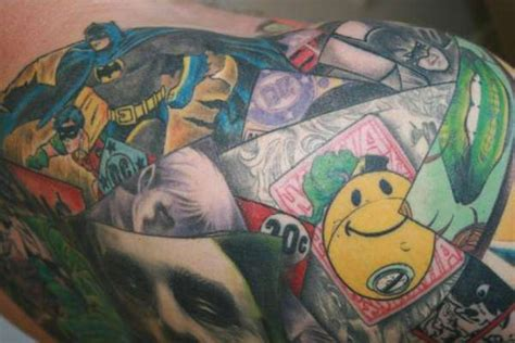 comic collection ink batman collage tattoo