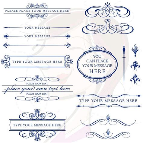 lines for wedding invitations vector clipart retro navy blue calligraphy flourish graphics text dividers oval digital frame