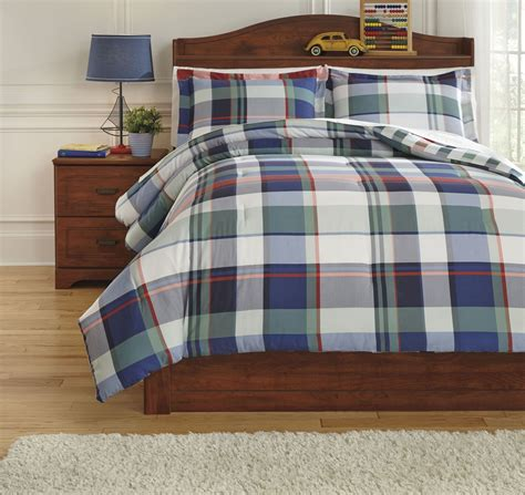 plaid twin bedding mannan plaid twin comforter set from ashley q773001t