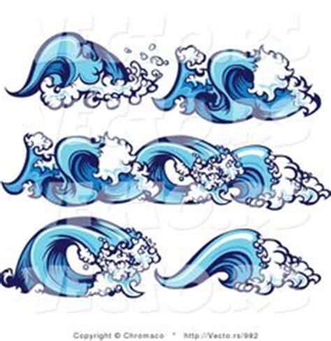 cartoon wave tattoo ocean shoreline clipart stock illustration blue