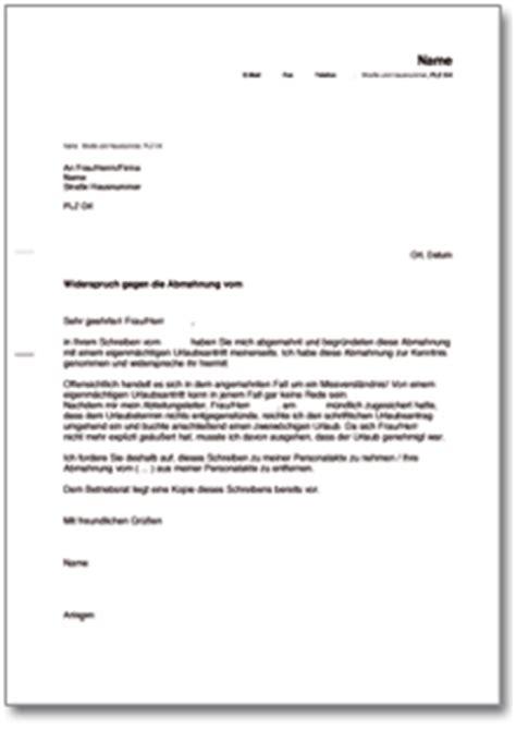 Musterbrief Beschwerde Nebenkostenabrechnung Gegendarstellung Zur Abmahnung Wegen Eigenm 228 Chtigen Urlaubsantritts De Musterbrief