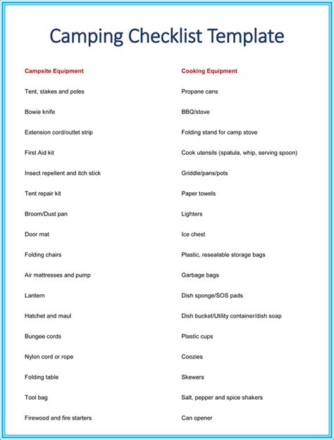 Wedding Checklist Pdf South Africa by A Printable Cing Checklist For All Of Your Cing