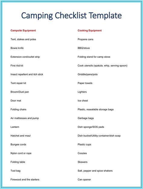camping checklist printable  excel