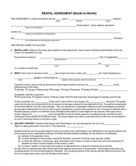 month to month rental agreement sle month to month rental agreement form 8 free