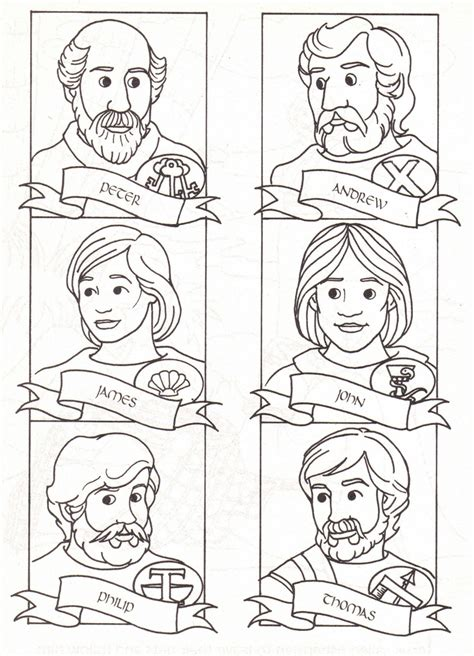 coloring pages jesus disciples 12 disciples coloring page sunday school