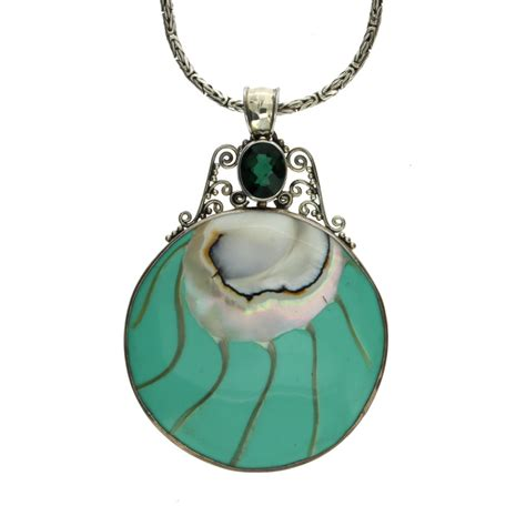 sterling silver large shell green quartz gemstone