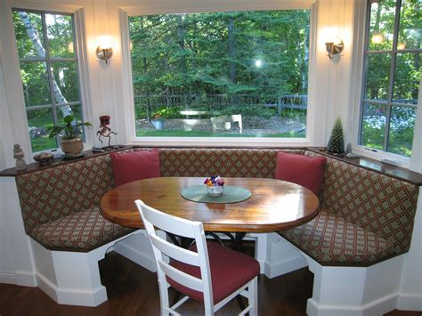 Table For Bay Window In Kitchen Banquette Seating Maximize Family Togetherness In The Kitchen