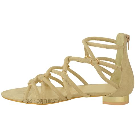 strappy flat shoes womens flat strappy sandals ankle high caged