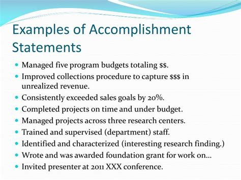 Exles Of Sales Goals Goals And Accomplishments Template