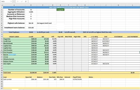 Sle Credit Card Spreadsheet Credit Card Utilization Tracking Spreadsheet Credit Warriors