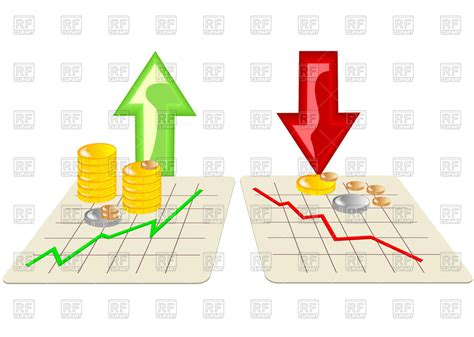 stock clipart stock market graph icons with arrows vector image vector