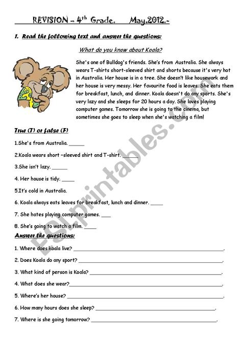 Revision 4th Grade Happy Earth 2 Esl Worksheet By Cachetes