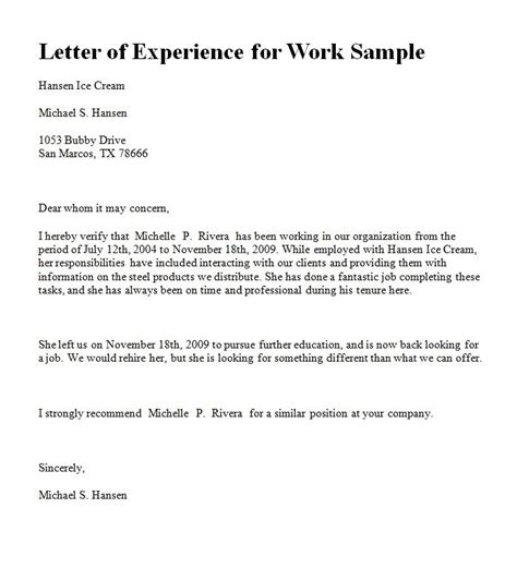 experience letter sample experience letter in ms word format for yahoo image