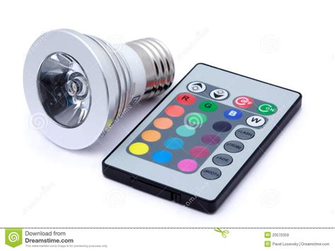 Multi Remote multi colour led light bulb and remote stock image