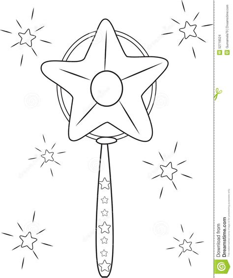 a star magic wand coloring page stock illustration image