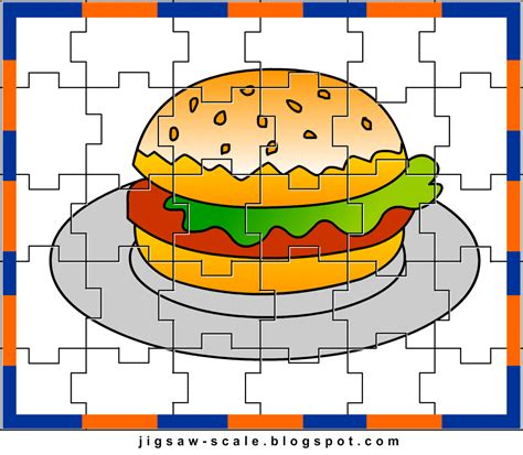 printable photo jigsaw puzzles printable jigsaw puzzle for kids burger jigsaw