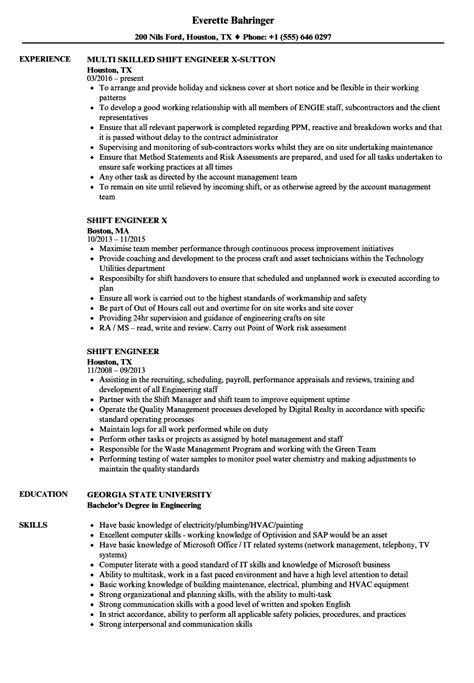 shift engineer resume sles velvet