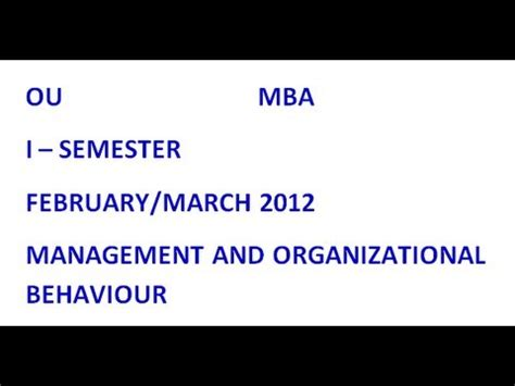 Ou Mba 1st Sem Important Questions 2016 by Ou Mba 1st Semester Management And Organizational