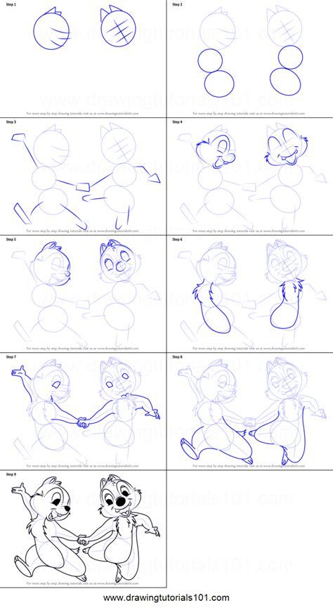 Drawing N Sketches by How To Draw Chip And Dale Printable Step By Step Drawing