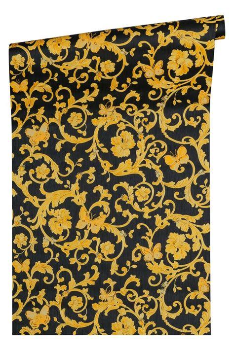 tende versace tapete versace ranken schwarz gelbgold glitzer 34325 2