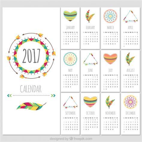 vector calendar template boho style 2017 calendar template vector free