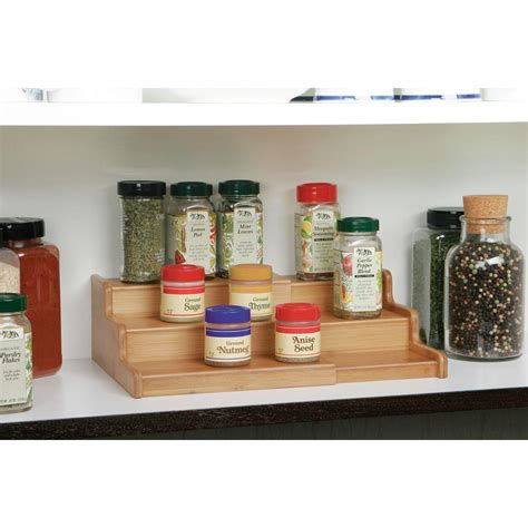 Kitchen Spice Shelf Seville Classics 3 Tier Expandable Bamboo