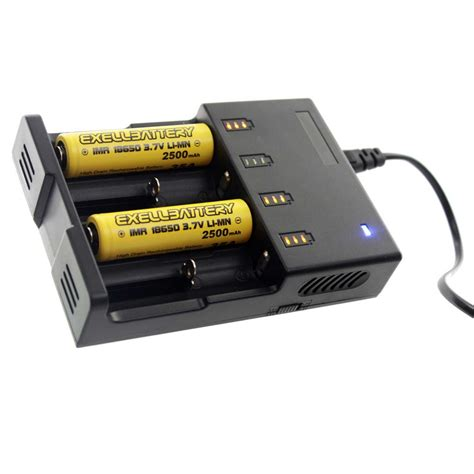 Dekstop Battery Charger 4 Slot 18650 2 pcs 3 7v 2500mah li ion 18650 imr rechargeable battery and 4 slot charger