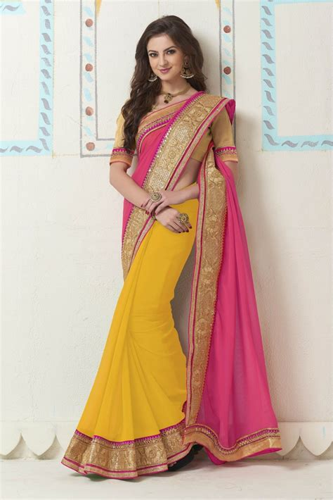 which colour blouse suits for pink saree buy georgette party wear saree in yellow and pink colour