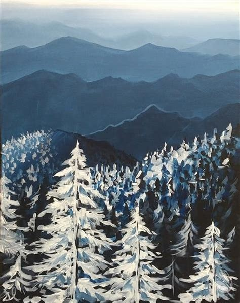 paint with a twist winter new smoky mountains in winter tuesday april 18 2017