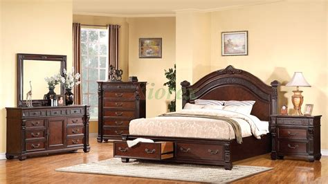 Storage Bed Bedroom Sets by Toronto 6 Storage Bedroom Set Pecan Value