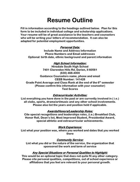 scholarship resume template scholarship resume template project scope template