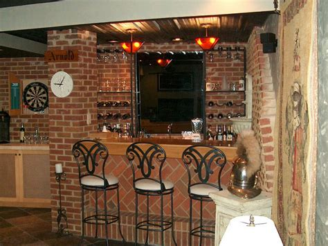 basement bar ideas with brick contemporary wall ideas